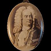 Vintage Tin Photo Button - Musician - Handel
