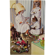 SOLD Alfred Mainzer Dressed Cats Postcard Cats at the Salon