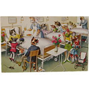 SOLD Alfred Mainzer Dressed Cats Postcard Cats at the Hospital