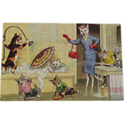 SOLD Alfred Mainzer Dressed Cats Postcard Cats Flooding the Bathroom