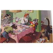 SOLD Alfred Mainzer Dressed Cats Postcard Cats Dropping the Birthday Cake