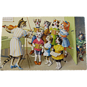 SOLD Alfred Mainzer Dressed Cats Postcard Cat Chorus