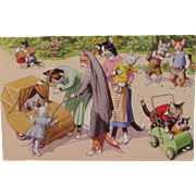 Alfred Mainzer Dressed Cats Postcard Cats After School