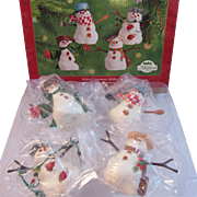 SOLD Hallmark Keepsake Ornament - Mitford Snowman Jubilee Group of 4 Christmas Ornaments