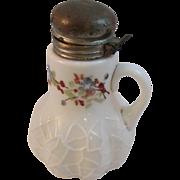 Alba Pattern Victorian Milk Glass Syrup Pitcher c1890s Handpainted