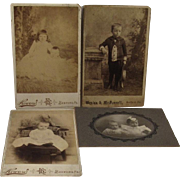 4 Victorian Baby Photos Cabinet Cards