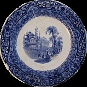 Edge Malkin Blue Transferware Sciro Pattern Plate.