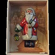 SOLD Vintage Hallmark St. Nicholas Ornament Pressed Tin Santa with Lantern