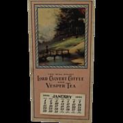 1950 Lord Calvert Coffee and Vesper Tea Advertising Calendar