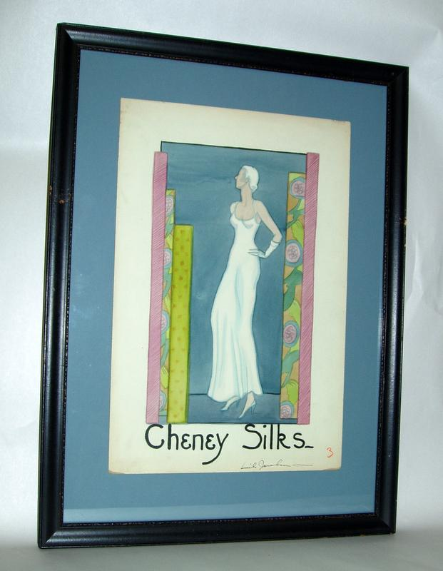 Original signed 1930 Dept Store Counter Ad for Cheney Silks