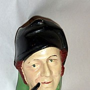 """Vintage 1930's 5"""" Chalkware Head - Match Holder Sailor with Pipe"""