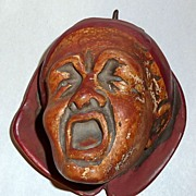 "Antique 19th Century 4"" Man's Screaming Head Chalkware Match Holder"