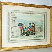 Italian Vintage Colored Lithograph Pinelli Fece 1809 Roma Comitiva Zecchinetta