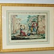 Italian Vintage Colored Lithograph Pinelli Fece 1809 Roma Costumi di Tivoli