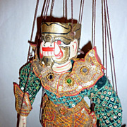 "Vintage Carved Teak Wood Burma Marionette 14"" Ogre – Demon of the Green Shirt"