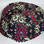 Rare Judaica Antique 19th century embroidered Tubeteika Yarmulke Kippah Bukharan (D)