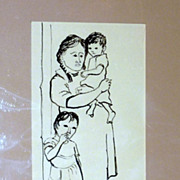 Vintage 1950's Cyrus M. Running - Original Pen & Ink - At the Door
