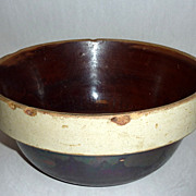 "Antique Stoneware Minnesota Farmhouse 10 1/2"" Brown Salt Glazed Bowl"