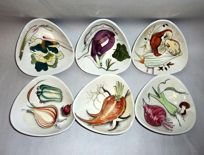 1950's Japan 6 Hand Painted Pottery Vegetable - Condiment Bowls
