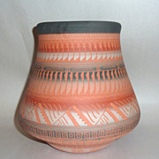 "Stunning 8"" Intricately Etched Red Clay Navajo Pot signed A. Charley"