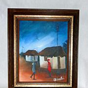 """Vintage 1970's Haitian Village 10"""" Oil on Canvas by C. Sainvilier"""