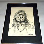 P J Klocksien Vintage Framed Litho 5/120 New Chest - Piegan Native American