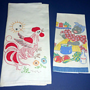 2 Vintage 1940's Kitchen Dish Towels Printed Aunt Jemima & Embroidered Rooster