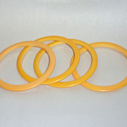 "4 Vintage Creamed Corn Yellow Bakelite 1/4"" Stacker Spacer Bangles"