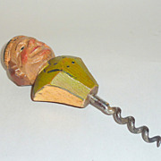 "SOLD Vintage Anri Italy hand carved 5"" Wood Man Bottle Corkscrew"