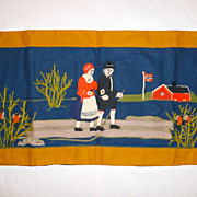 "Vintage 1940's Norwegian Couple out Walking - Crewel Work 20"" X 40"" Tapestry"