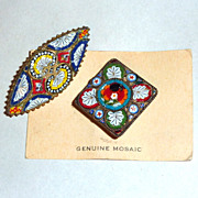 2 Antique Tiny Micro Mosaic Italian Flowers & Ferns Brooches
