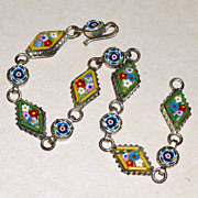 "Antique 8"" Long Tiny Micro Mosaic Italian Blue & Yellow Floral Bracelet"
