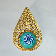 Vintage Istanbul Turkey Painted Porcelain Pendant in Gold Plated 925 Silver