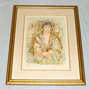 "Vintage Edna Hibel 32"" Framed Lithograph Young Man with Herbs VII 28/33 ed. 335"