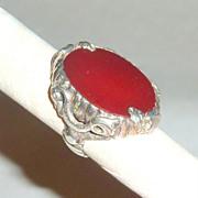 Antique Art Nouveau Sterling Dragons & Orange Marmalade Carnelian Ring sz 5
