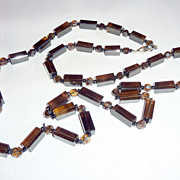 "Vintage 1920's Hand Cut Smoky Brown Crystal Beads 34"" Strand Necklace"
