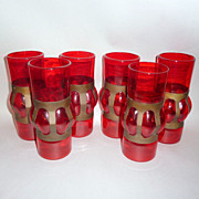 "6 Fabulous 1950's Rare Red Glass blown into Copper - 6 1/2"" tall Water Glasses"
