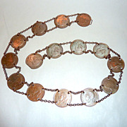 "Vintage 28"" 1930's England 15 Copper Penny Coin Belt + Spain Alfonso 1879 Copper"