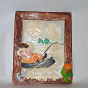 Vintage 1930's Plaster - Chalkware Cartoon Picture Sleeping Fisherman in Boat