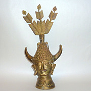 "Vintage Asia Brass/Bronze 13"" Sculpture Head with Horns & Peacock Feathers"