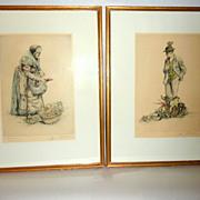 Framed Pair of Vintage Paul Geissler Signed Etchings Old Vegetable Sellers