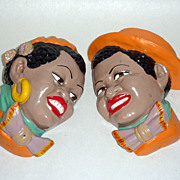 Pair Black Americana Chalkware Heads Man & Woman Dressed to Party Mint Condition