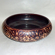 "Vintage 1950's Asian Incised Design Earthenware 10 1/2"" Pottery Bowl"
