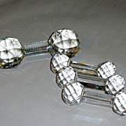 4 Vintage Cut Crystal Knife Rests 1 Master & 3 Individual Place Pieces