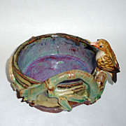 Beautiful Vintage China / Japan Art Pottery Bamboo Bowl with Song Bird