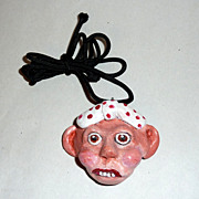 Artisan OOAK Sculptured Polymer Clay Head Necklace Pendant - Velma