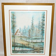 Vintage Framed Stone Pulled New York GUILD Lithograph 280/375 Blue Pines