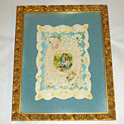 "Framed on Blue Velvet Antique Victorian Paper Lace 8"" Valentine Card Boy & Girl"