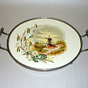 "Antique Holland / Germany Painted Porcelain Tile 16"" Vanity Tray"