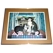 1981 Steven Klein Farmhouse Cats DOTTED SWISS Framed & Signed Litho 34/325